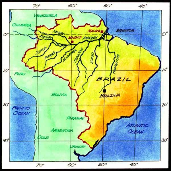 Brazil Map of Amazon Brazil Amazon River Map