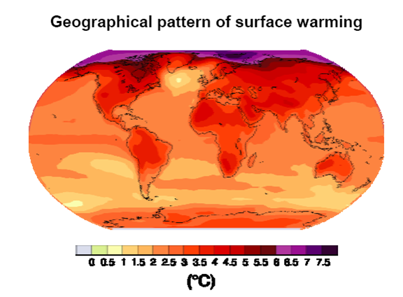 Projected surface temperature changes by 2099