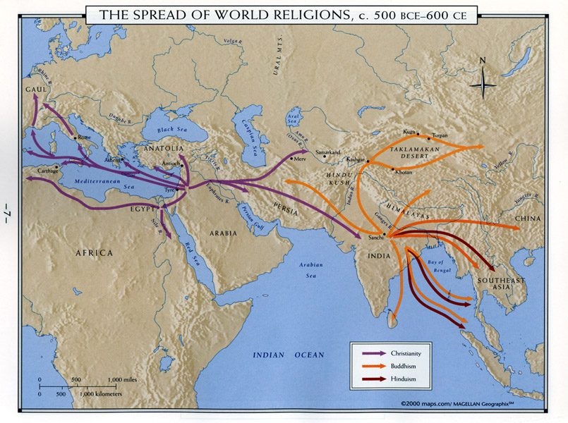 Maps the spread of world religions c 500 bce 600 ce sciox Image collections