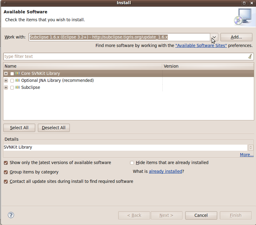 Installing Subclipse in Eclipse 3 6