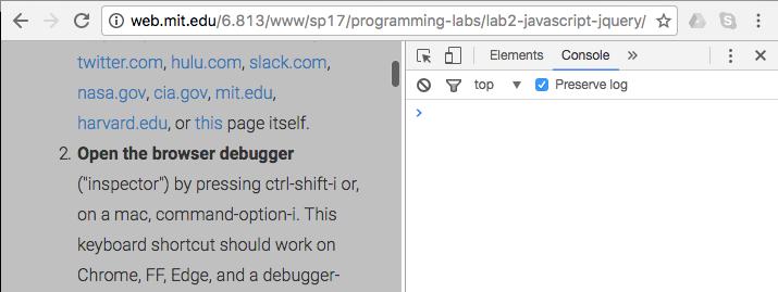 Lab 2: JavaScript/jQuery
