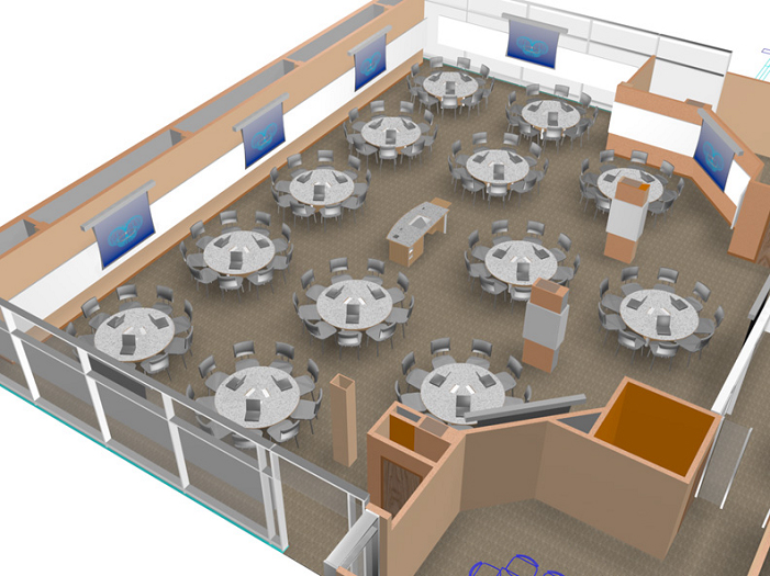 Rendering of the TEAL classroom at MIT