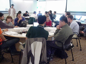 Photograph of students at work in the MIT TEAL classroom