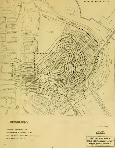 1953 Topography Map West End Project Report Boston Housing Authority