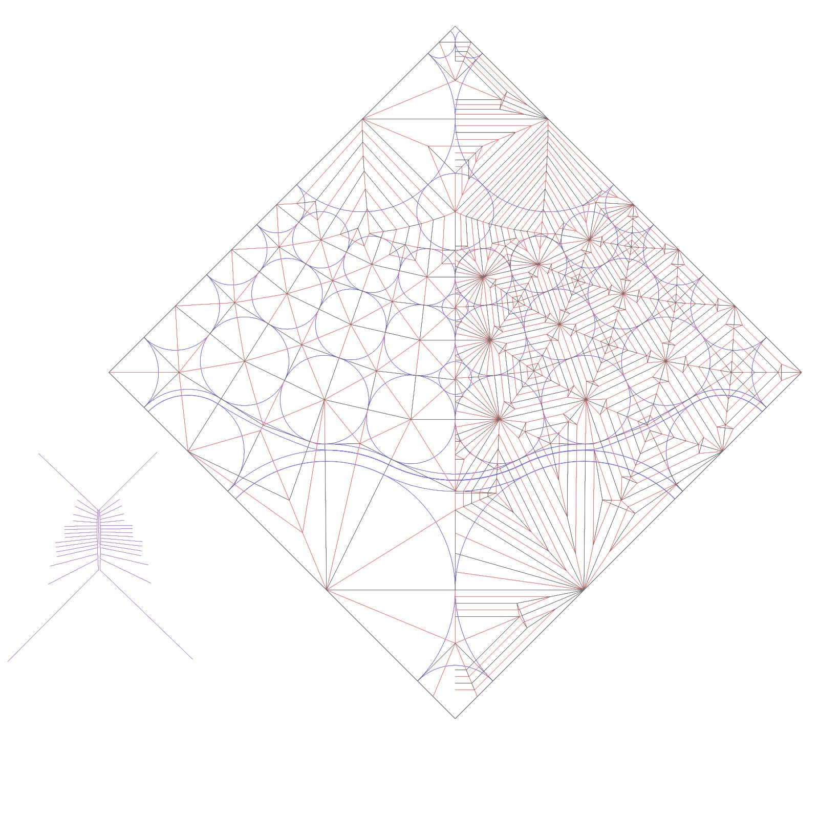 Crease Pattern for Caduceus 2.0 Tim... - Tim Rickman Origami ... | 1600x1600