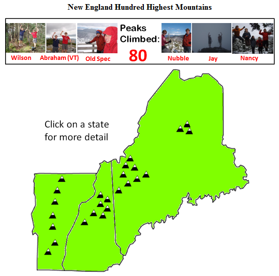 Map Of New England 4000 Footers.The Horn Nh