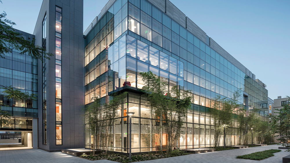 An exterior photograph of the new MIT Nano building