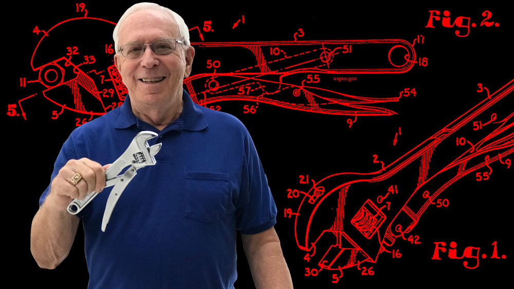 MIT alumnus Robert Gottlieb holds a Stanley Tools 85-610 Locking Wrench which he invented