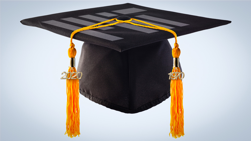 a mortar board hat with two tassels; one spelling out 2020 and the other 1970