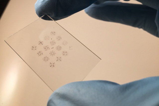 Stamping technique creates tiny circuits with electronic ink