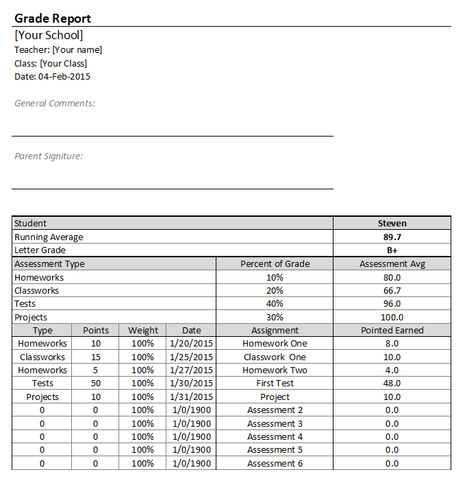 Free Excel Gradebook Templates for Teachers