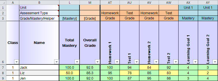 Gradebook template for excel free teacher grade book.