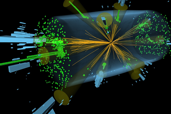 This illustration shows a multi-jet event recorded by the CMS detector at the Large Hadron Collider