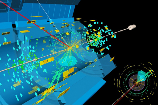 A candidate event display for the production of a Higgs boson decaying to two b-quarks (blue cones), in association with a W boson decaying to a muon (red) and a neutrino.