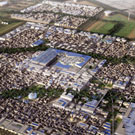 Aerial view of planned Masdar city