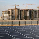 Construction and solar panels at Masdar City