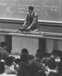 After the launch of Sputnik, physics classrooms at MIT flooded with new students. Here Associate Professor Uno Ingard lectures a crop of students at the Karl Compton Laboratories in 1958.
