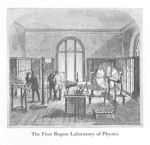 The first incarnation of the Rogers Laboratory of Physics.  At center is a phonautograph, at lower-right is a bank of batteries, at far right is an electrostatic plate machine.