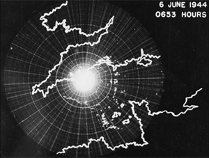 An MIT-produced radar scope shows Allied invasion of France across the English Channel on D-Day, 1944.