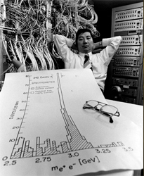 Samuel C.C. Ting along with a data proving the existence of the new 'J' particle, the work for which he shared the 1976 Nobel Prize in Physics.
