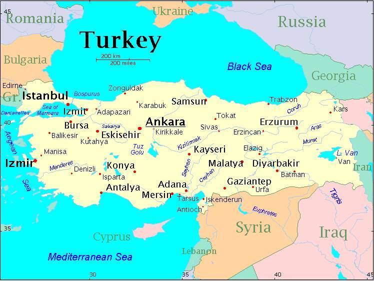 World Map Turkey