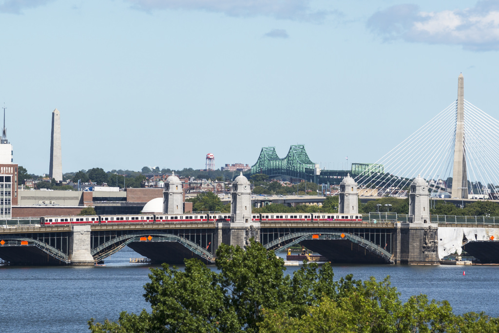 The Red Line train crosses the Longfellow Bridge, which connects Cambridge and Boston.