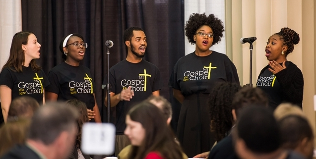 The MIT Gospel Choir performs at the MLK luncheon.