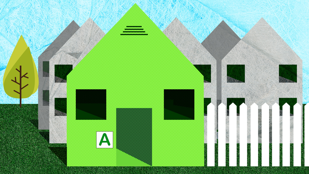 A bright green house with an A energy rating in front a gray houses