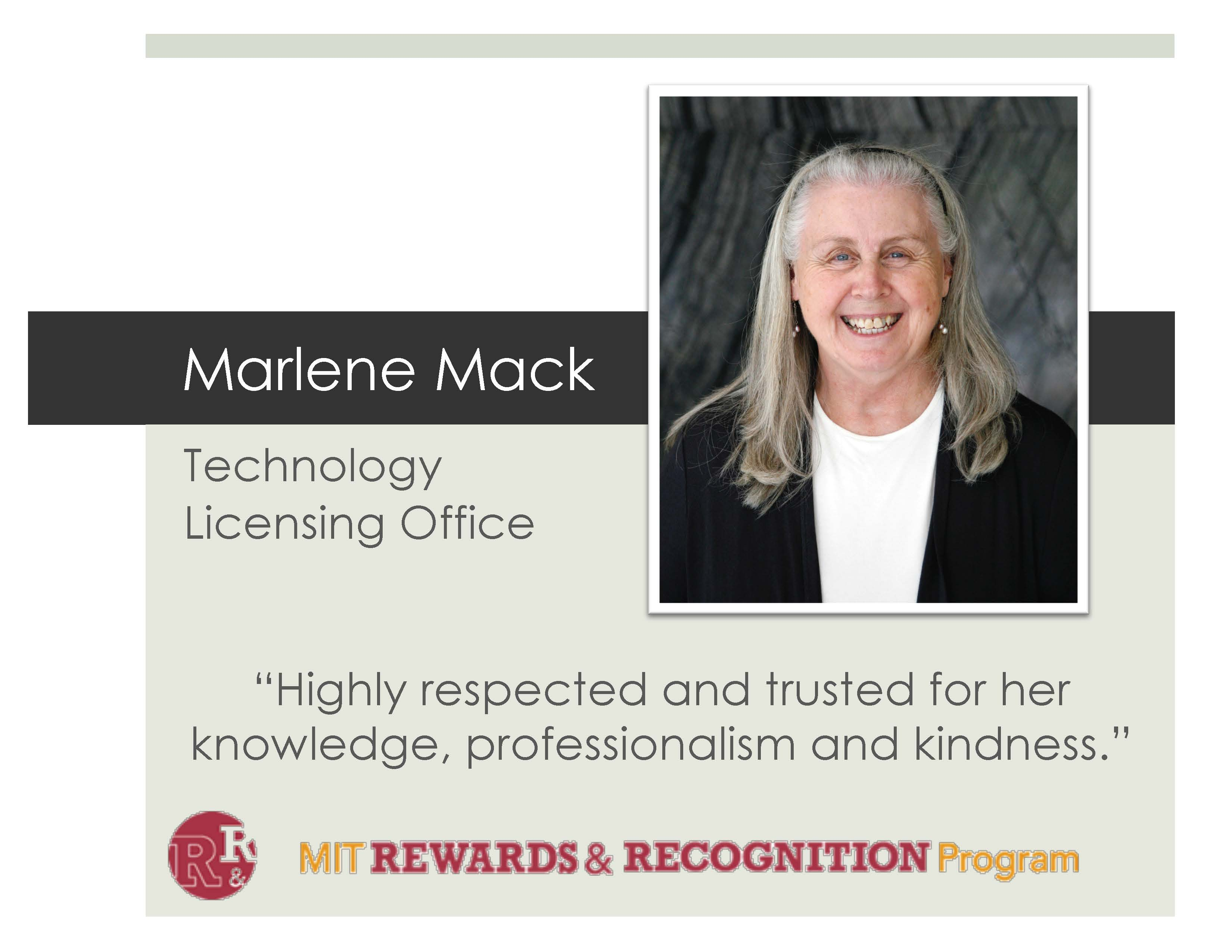 """Image of Marlene Mack with text that reads """"Highly respected and trusted for her knowledge, professionalism, and kindness."""""""